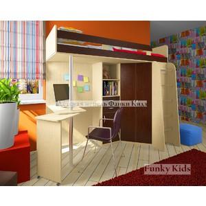 Кровать чердак с рабочей зоной Фанки Соло 2, венге-дуб