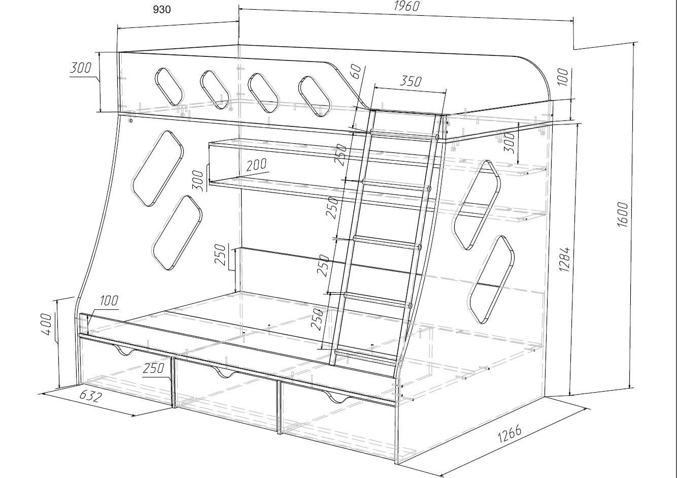 2х ярусная кровать чертежи